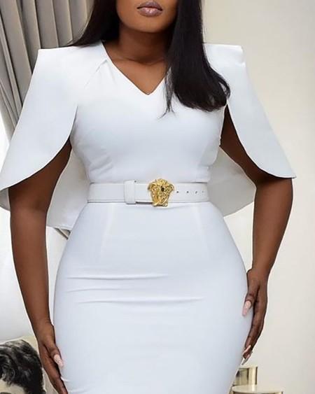 Cape Sleeve Plain Work Dress