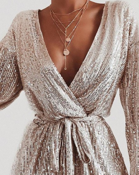 Plunge Sequins Knotted Rompers