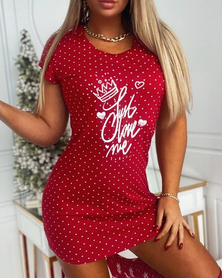 Christmas Letter Print Short Sleeve Nightgown
