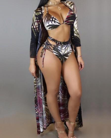 369e6732bb719 3PCs Leaf Print Strappy Bikini Swimwear With Cover Up ...