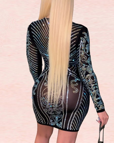 Long Sleeve Studded Plunge Bodycon Dress
