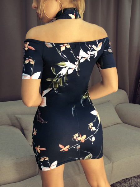 Floral Choker Open Shoulder Bodycon Dress