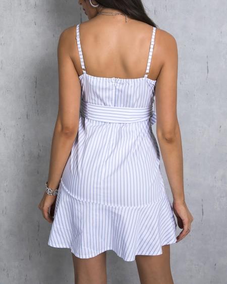 Striped Ruffles Tied Waist Casual Dress