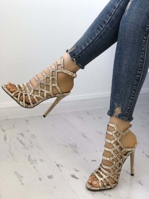 Woman Serpentine Hollow Out Stiletto Sandals