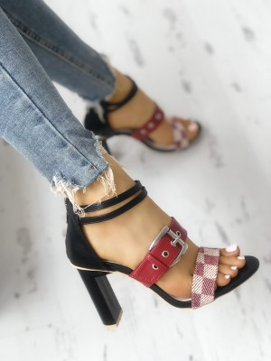 Grid Buckled Zipper Chunky Heeled Sandals