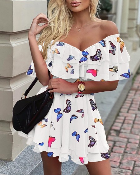 Butterfly Print Off Shoulder Ruffles Skater Dress