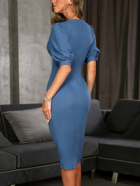 Solid Double-Breasted Puff Sleeve Wrap Dress