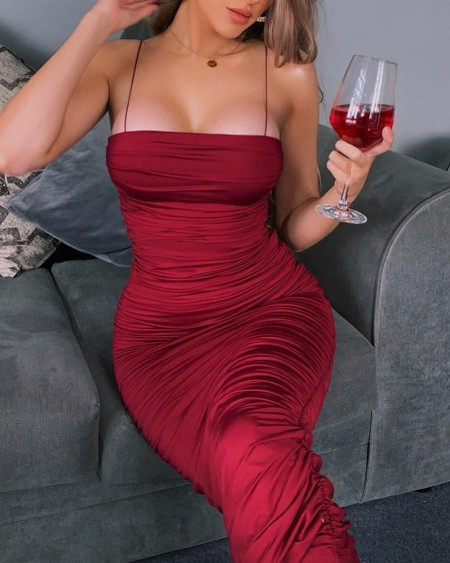Ruched Design Spaghetti Strap Dress