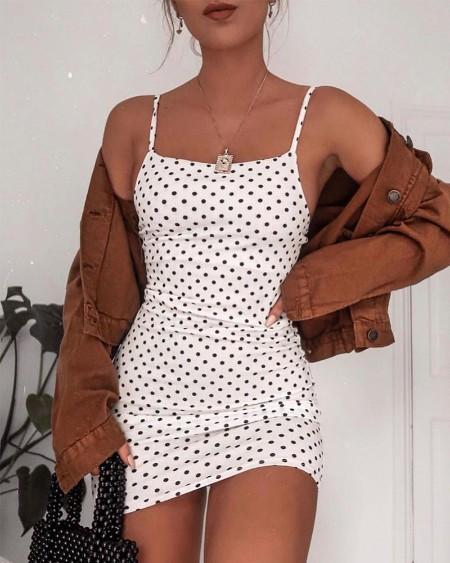 Square Neck Polka Dot Cami Dress