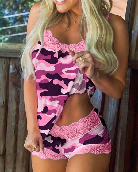 Camouflage Lace Trim Bowknot Decor Cami Set