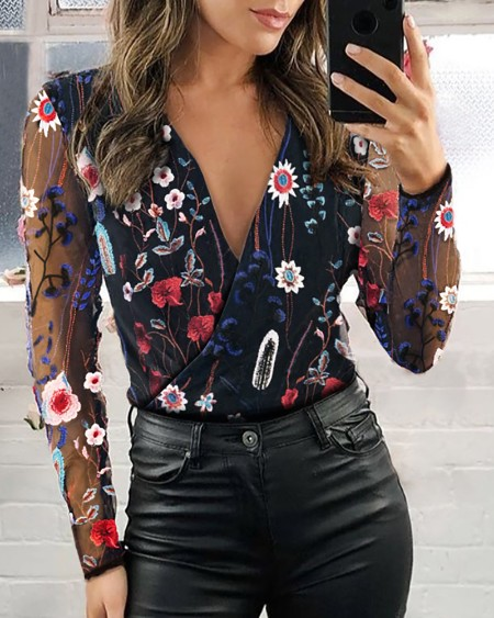 Sheer Mesh Floral Embroidery Blouse