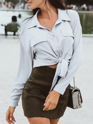 Solid Pocket Tied Front Casual Shirt
