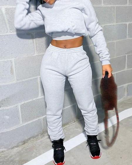Plain Hooded Crop Top & Eyelet Lace Up Pants Set