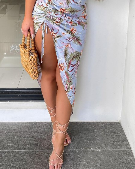 Tropical Print Ruched Drawstring Slit Dress