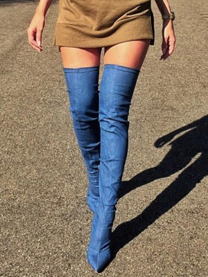 Fashion Pointed Toe Knee-High Denim Boots
