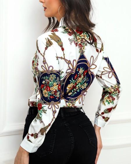 Retro Floral Print Long Sleeve Shirt