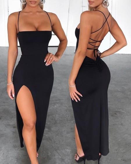 Spaghetti Strap Bandage Slit Dress
