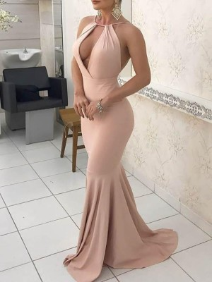 Cutout Front Halter Fishtail Bodycon Maxi Dress