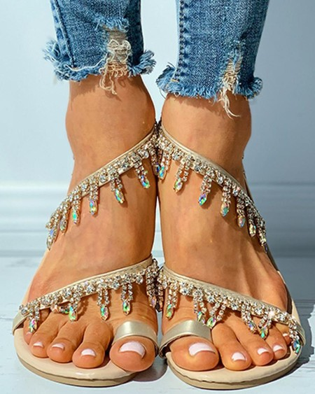 Studded Tassel Design Open Toe Flat Sandals