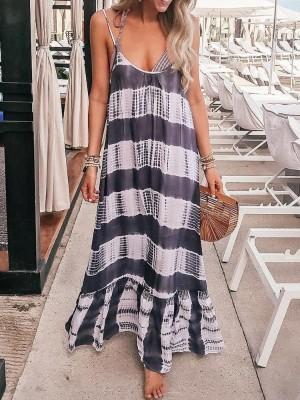 Tie Dye Stripes Pep Hem Maxi Slip Dress