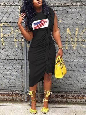 Flag Print Irregular Ruffles Hem Casual Dress