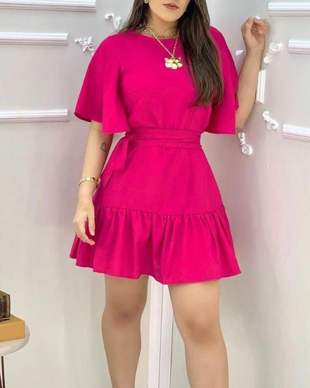 Ruffles Ruched Half Sleeve Casual Dress