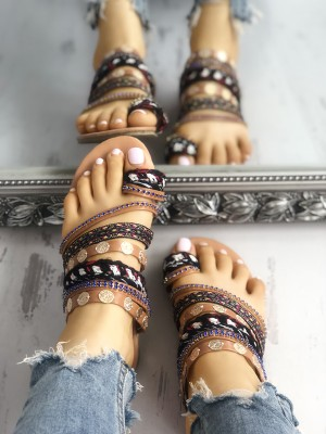 Ethnic Style Toe Ring Casual Flat Sandals Slipper