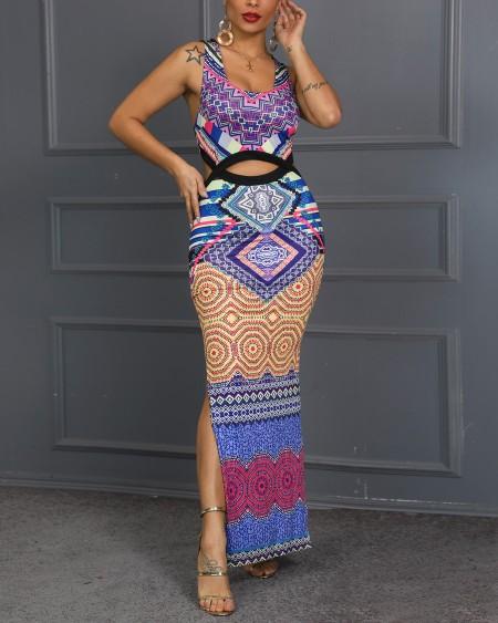 Ethnic Digital Printed Back Crisscross Cut Out  Maxi Dress