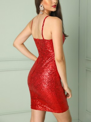 Shiny Sequins Spaghetti Strap Bodycon Dress