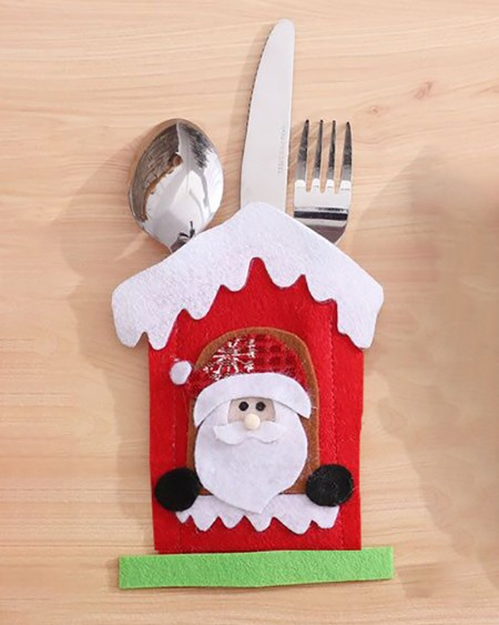 Christmas Pattern Knife Forks Pouch Bags Cutlery Holders