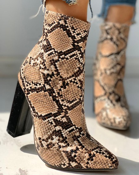 boutiquefeel / Leather Snakeskin Chunky Heeled Ankle-Boots