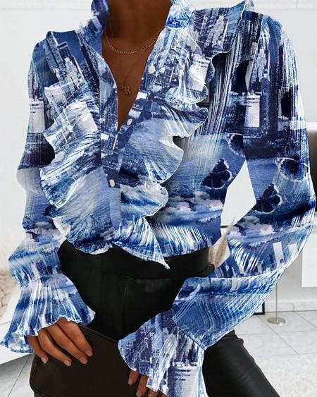 Print Long Sleeve Ruffles Design Blouse