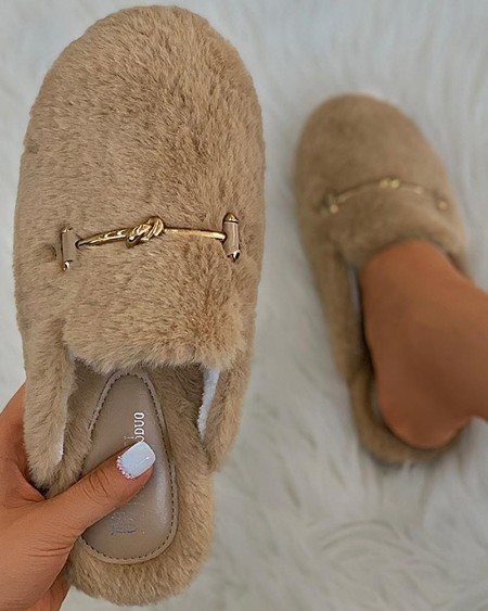 Metal Decor Fluffy Slipper