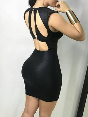Sexy Cut Out Back Bodycon Mini Dress