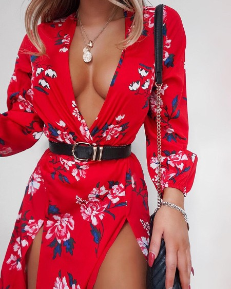Deep V Neck Floral Print Slit Dress