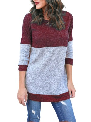 Contrast Color Long Sleeve Casual Top