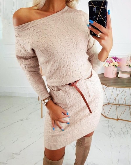 boutiquefeel / Solid Pocket Design Sweater Bodycon Dress