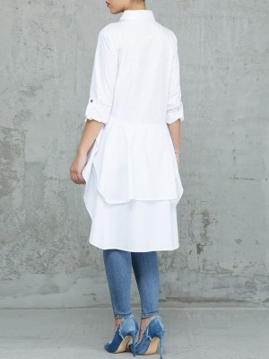Layered Flounced Dip Hem Blouse