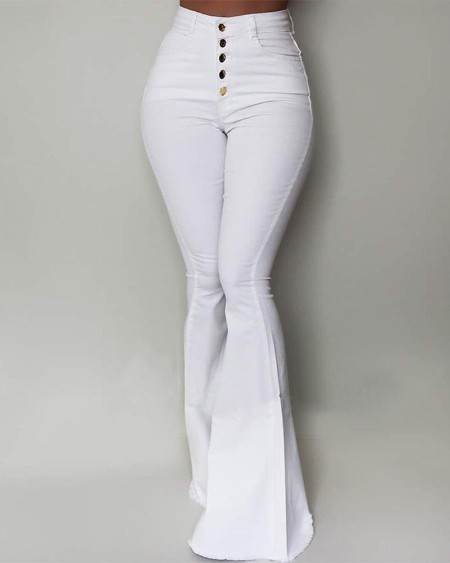 boutiquefeel / Solid High Waist Slinky Bell-bottomed Pants
