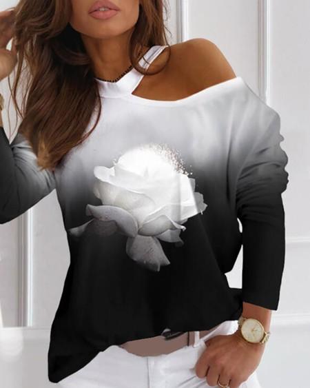 Cold Shoulder Floral Print Gradient Color Top