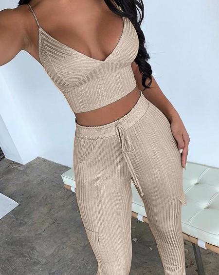 Ribbed Crop Top & Drawstring Pants Set
