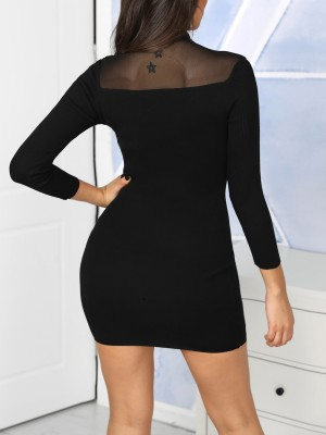 Beading Embellished & Mesh Insert Bodycon Dress