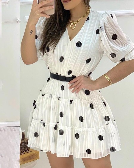 Polka Dots Mesh Puff Sleeve Ruffles Casual Dress