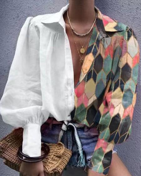 Patchwork Print Long Sleeve Shirt