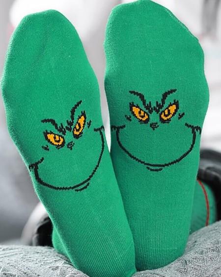 Christmas Cartoon Print Colorblock Socks