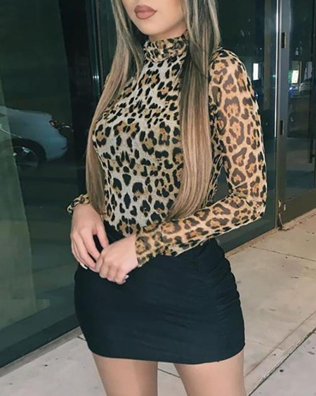 Leopard Print Long Seeve Bodycon Dress