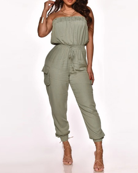 Plain Straight Across Sleeveless Top & Pants Set