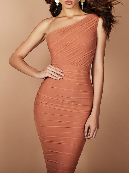 One Shoulder Ruched Design Bodycon Dress