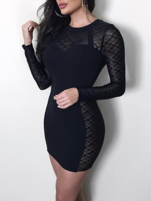 Gridding Mesh Splicing Slinky Bodycon Dress