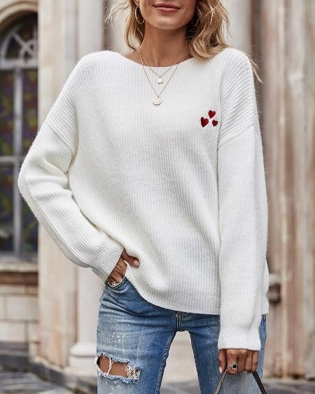 Heart Pattern Long Sleeve Casual Knit Sweater